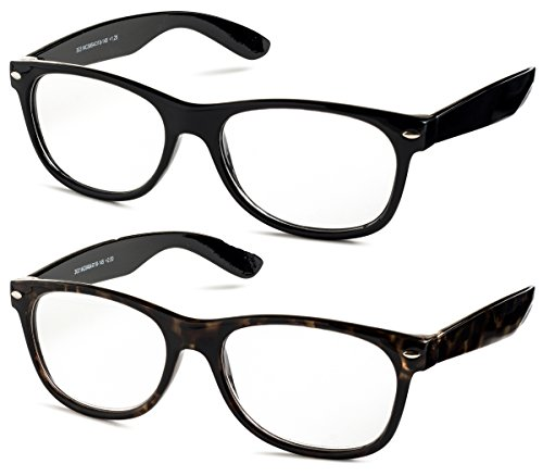 Specs Wayfarer Reading Glasses (Shiny Black and Shiny Havana) +1.50 2-Pack