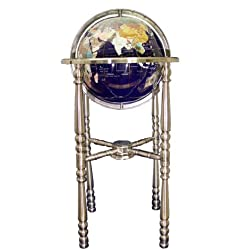 Unique Art 36-Inch by 13-Inch Floor Standing Blue Lapis Gemstone World Globe with Silver 4-Leg Stand