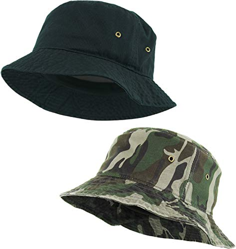 H-219-2-0684 2-Pack Bucket Hat: Black and Camo]()