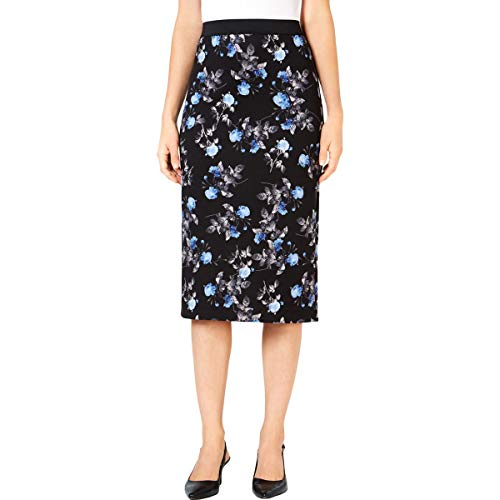 Alfani Womens Floral Print Metallic Scuba Skirt Black S