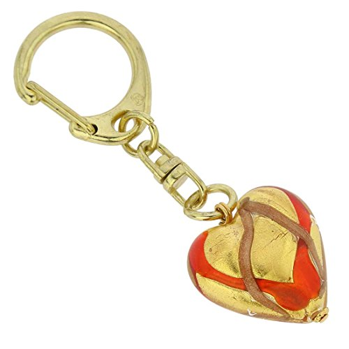 Murano Venetian Ring (GlassOfVenice Murano Glass Heart Keychain - Red Waves Gold)