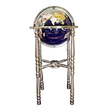Unique Art 330-GBH-BLUE-SILVER 36-Inch by 13-Inch Floor Standing Blue Lapis Gemstone World Globe with Silver 4-Leg Stand