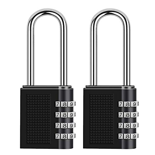 ONUEMP Combination Lock, 2 Pack Long Shackle Padlock, 4 Digit Combination Padlock 2.5 Inch Hardened Steel Shackle for School, Gym Locker, Case, Cabinet - 10000 Combinations Luggage Locks(Black)