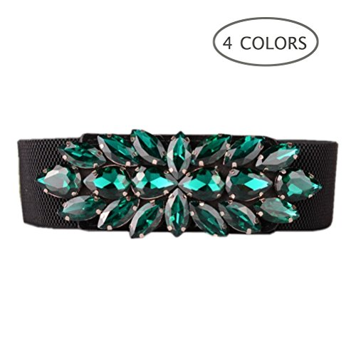 Dorchid Women's Simple Solid Belts Rhinestone Crystal Adjustable Waistband Belt Interlocking Buckle Green L