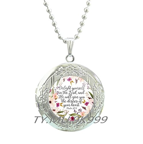 Bible Locket Pendant - PSALMS 37:4 BIBLE Scripture Locket Pendant Bible Verse Christian Inspirational Gift Take Delight in the Lord Scripture Quote Bible Verse Gift.Delight Yourself in the Lord Locket Necklace.Y090 (1)