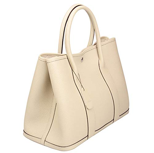 (Qidell Women's Genuine Leather Tote Bag Top Handle Handbags (Large, Pearl greyish))