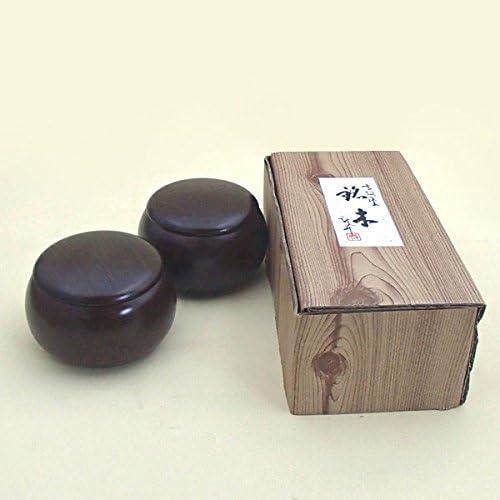 碁石セット ガラス碁石鳳凰青ラベル竹(約9mm)とP銘木大碁笥セット