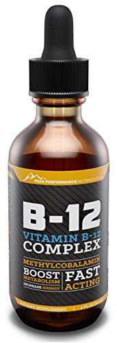 Peak Performance | Vitamin B12 Sublingual Complex | Methylcobalamin Liquid | Dietary Supplement | Drops for Increased Energy | Improves Focus & Concentration | Metabolism & Immune Booster | 2 Ounces