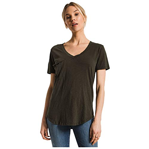 (Z Supply Clothing Women's The Cotton Slub Pocket Short Sleeve T-Shirt, Rosin, Small)