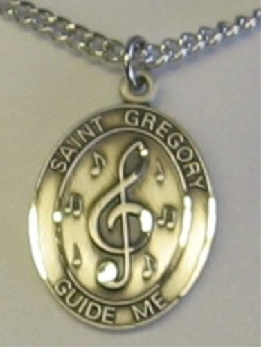 St. Gregory-Music Note (JC-515/1MFT) Sterling Silver Medal on 24