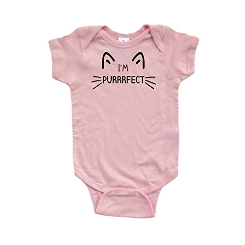 Infant Cat (Apericots I'm Purrrfect Cat Face Whiskers Funny Short Sleeve Infant Bodysuit,Light Pink,6 Months)