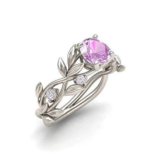 WYTong Women's Ring, Elegant Band Silver Transparent Diamond Flower Vine Leaf Rings Engagement Wedding Gift for Ladies (Pink, 6)