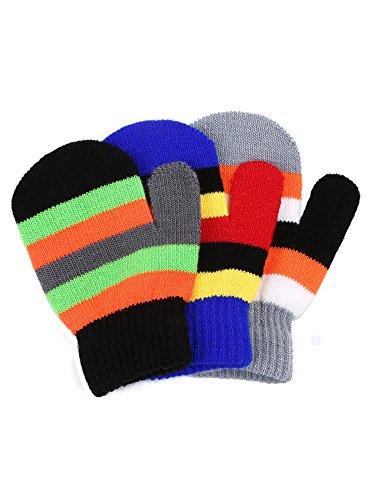 Satinior 3 Pairs Toddler Magic Stretch Mittens Little Girls Soft Knit Mitten Baby Boys Winter Knitted Gloves (Multicolor (Kids Mitten)