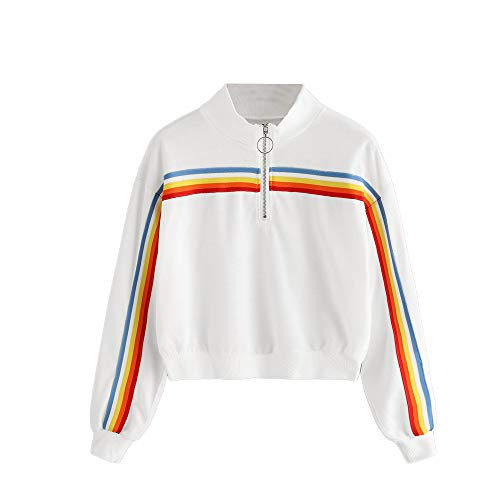 Hosamtel Women Fashion Hoodie Long Sleeve Rainbow Stripe Zipper Casual Sport Short Pullover Sweatshirt Hooded at Amazon Womens Clothing store:
