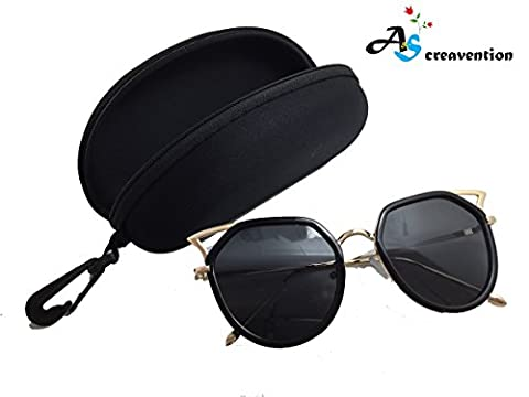 A&S Creavention 2017 New Fashion Charm Cat Ear Design Metal Shades Lens Reflective Sunglasses Eyewear with Case (Gold Black, - Design Metal Fashion