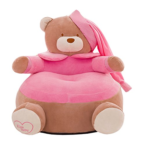 Blesiya Adorable Bear Children Seat Sofa Cover Kids Furniture Armchair Baby Chair Stuff Toy Bean Bag Home Playroom Decor - #2 Pink, 20x20 Inch by Blesiya