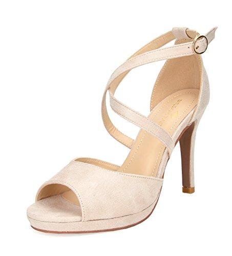 High 3/4 Stiletto Heel Shoes - DREAM PAIRS Women's GAL_10 Nude Fashion Stiletos Heeled Sandals Size 8 B(M) US