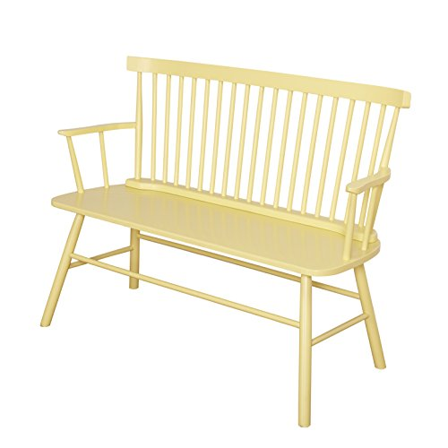 Target Marketing Systems Shelby Wooden Bench with Spindle Back and Arms, Yellow by Target Marketing Systems