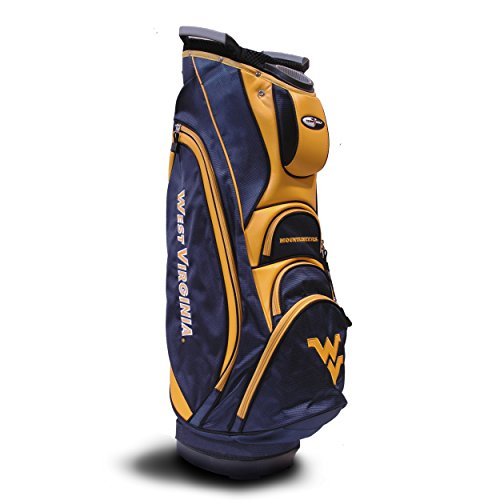 (Team Golf NCAA West Virginia Mountaineers Victory Golf Cart Bag, 10-Way Top with Integrated Dual Handle & External Putter Well, Cooler Pocket, Padded Strap, Umbrella Holder & Removable Rain Hood)