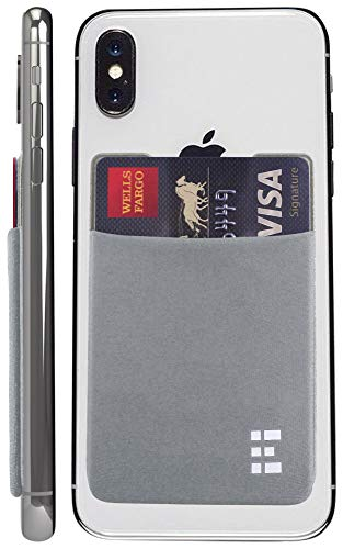 Zero Grid Cell Phone Credit Card Holder Stick On Wallet Case w/RFID Blocking (Silver)