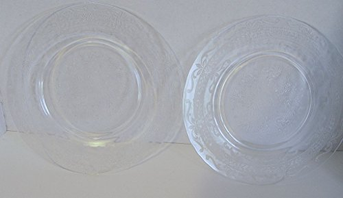 Vintage Depression Glass MacBeth-Evans Clear Stippled Rose Band Luncheon Plates Set of 2