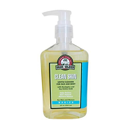 Brave Soldier Clean Skin Face Cleanser for Men and Women - 8 fl. oz. / 236.5 ml Pump Bottle - Moisturizing Formula, Safe for Sensitive Skin, Mild Makeup Remover