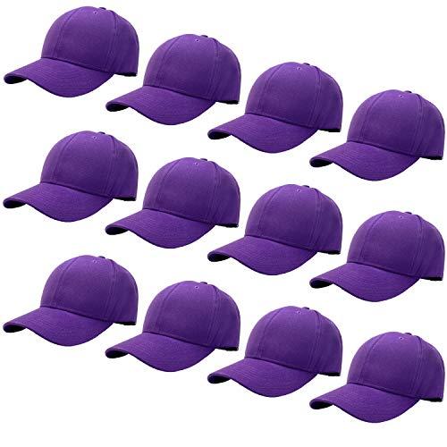 12-Pack Bulk Sale Plain Baseball Cap Adjustable Size Solid Color G012-26-Purple