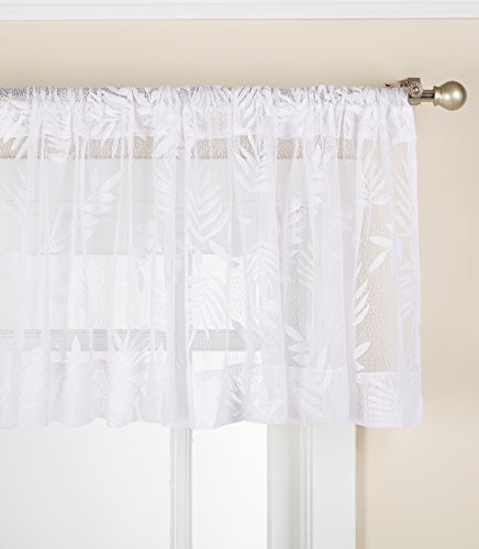 (LORRAINE HOME FASHIONS Forestal Lace Tailored Window Curtain Panel, 56 x 84 Inches, White)