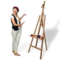 Artina Leinwand Staffelei Holz groß Barcelona - Holz-Staffelei aus Buche - Natur Künstler Staffelei für Keilrahmen bis 120 cm mit Doppelauflage