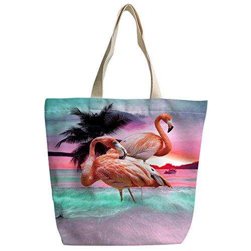 SXCHEN Beautiful Pink Flamingo Beach Sunset Custom Canvas Tote Bag Handbag