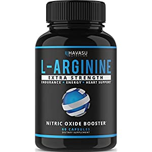 Extra Strength L Arginine 1200mg Nitric Oxide Supplement for Muscle Growth, Vascularity & Energy Powerful No Booster with L Citrulline & Essential Amino Acids to Train Longer & Harder 60 Capsules