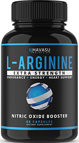 Havasu Nutrition Extra Strength L Arginine - 1200mg Nitric Oxide Supplement for Muscle Growth, Vascularity and Energy - L-Citrulline & Essential Amino Acids to Support Physical Endurance, 60 Capsules (Best Vasodilator Pre Workout)