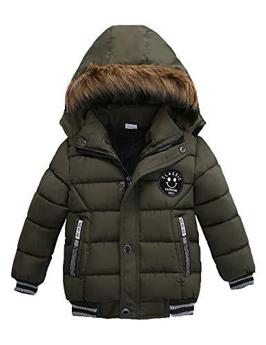Echinodon Winterjas voor jongens met fleecevoering, winterjas met bontcapuchon, kindermantel