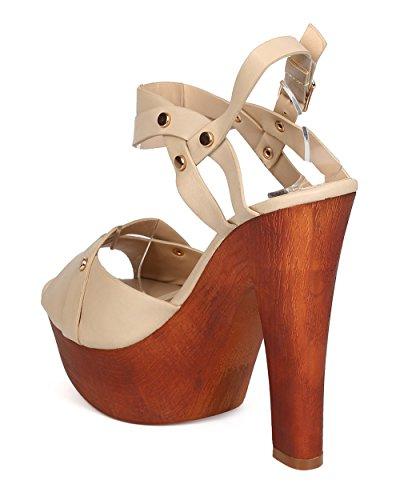 DbDk FA98 Women Leatherette Peep Toe Studded Ankle Strap Platform Block Heel Sandal - Beige SRWJ87aSN2