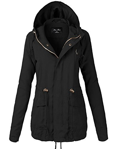 Plus Size Waist Drawstring Hooded Zipper Utility Jackets,118-Black,XX-Large