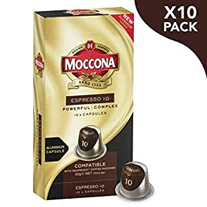 Moccona Coffee Espresso - Intensity 10 - 100 Aluminium Capsules Compatible with Nespresso®* Machines (10x10 Pods Pack)