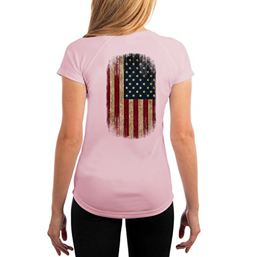 Dead Or Alive Clothing Women's Distressed American Flag UPF 50+ Short Sleeve T-Shirt X-Small Pink Blossom