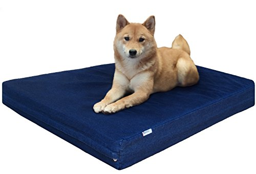 Dogbed4less Durable Orthopedic Memory Foam Pet Bed with Waterproof Internal Case 2 Washable Denim External Cover for Medium Large Dog