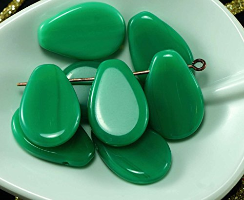 Large Opaque Emerald Green Czech Glass Flat Teardrop Beads 18mm x 12mm 8pcs