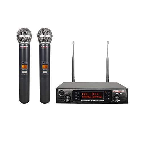 Phenyx Pro Dual UHF Wireless Microphone System, Selectable Frequency, 200 Channels, Metal Mics, Interference-Free, 260ft, Ideal For Family Karaoke, Party, Church, Youtube, Live(PTU-71) by Phenyx Pro