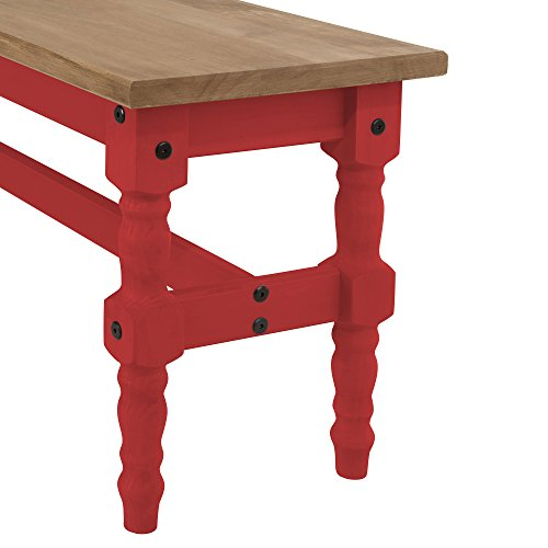 Manhattan Comfort Jay Collection Traditional Wooden Dining Table Bench with Trim Finish, Red/Wood by Manhattan Comfort (Image #3)