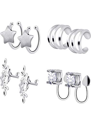 Gejoy 4 Pairs Cartilage Earrings Hoop Set Non Piercing Ear Cuffs Alloy Clips on Earrings for Women and Girls, 4 Various Styles