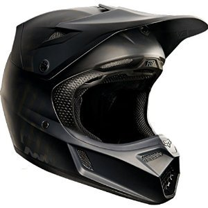 Fox Racing Matte Black Men's V3 Motocross Motorcycle Helmet - Matte Black / Small