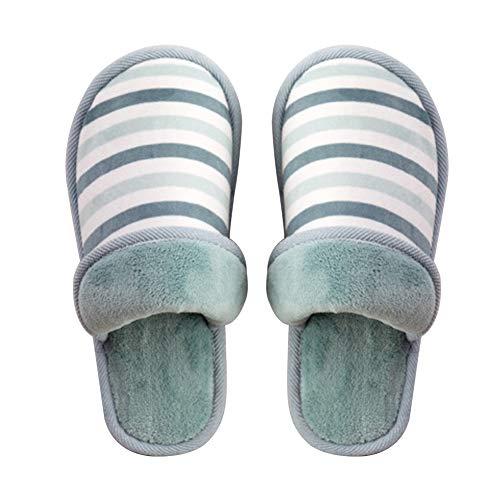 Moelleuses BIGBOBA Pantoufles Chaussons Pantoufles Rayées Coton Vert en FFz8nwxHP