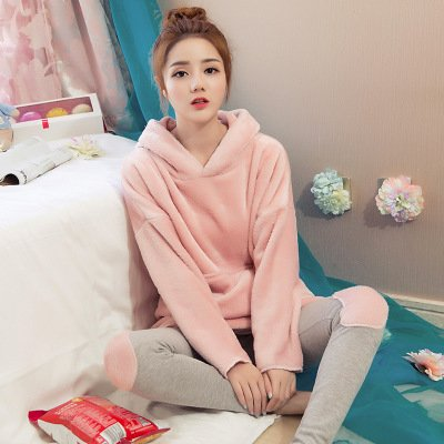 MH-RITA Marca de invierno con Capucha Damas pijama rosa conjuntos de ropa para dormir