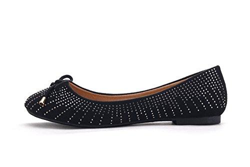 Mila Lady Dana05 Jurk Zachte Flexibele Boog Strass Accent Comfortabele Ballerina Flats Schoenen Zwart