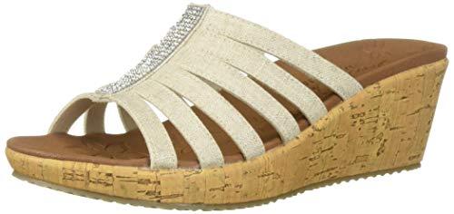 (Skechers Women's Beverlee-Multi-Strap Rhinestone Sandal Wedge, Natural 7.5 M US)
