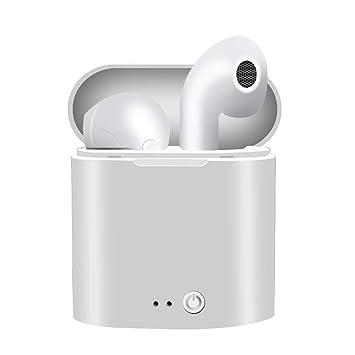 i7S TWS Mini Auricular Bluetooth Inalámbrico Auriculares Estéreo en la Oreja Auriculares Deportivos i7S TWS para iPhone XS Samsung S9 Xiaomi (Blanco): ...