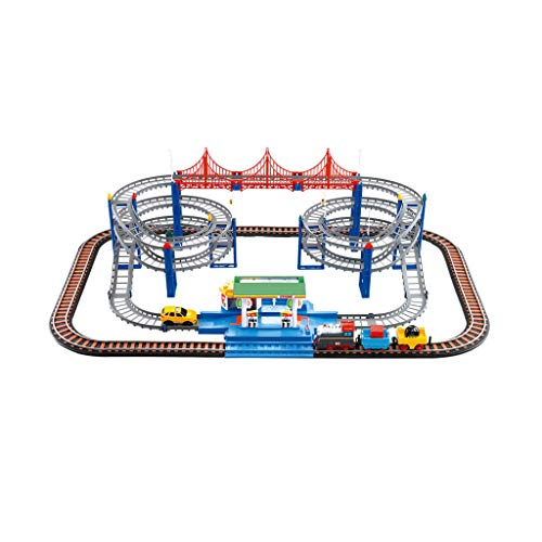 (LIUFS-Track Small Train Set Track Electric Car Dinosaur Roller Coaster Boy Toy High-Speed Rail Harmony Number (Color : Charging, Size : Gas Station Track))