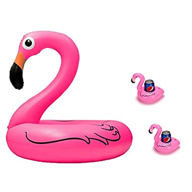 Giant Inflatable Pink Flamingo Pool Floats, 4 ft Wide, With 2 Flamingo Drink Holder Coaster by Moon Boat (TM)